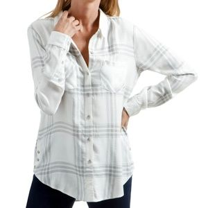 Lucky Brand Button Side Plaid White Collared Shirt